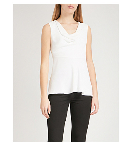 REISS Reina cowl neck crepe peplum top (Off+white