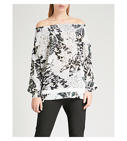 REISS Christa off-the-shoulder crepe top (Multi