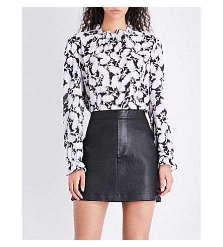 REISS Tabbie digital-print devoré blouse (Multi