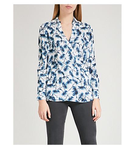 REISS Carina floral-print crepe blouse (Multi