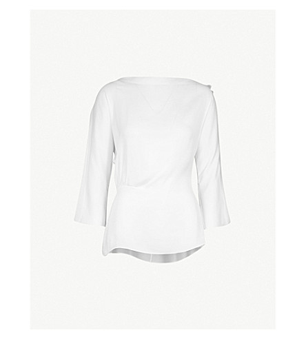 REISS Nina open-shoulder satin top (Off+white