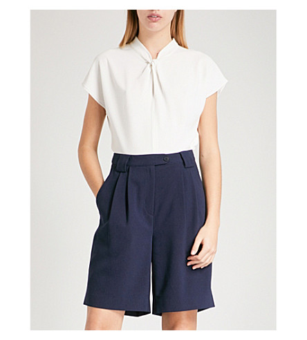 REISS Abel knot-front crepe top (Off+white