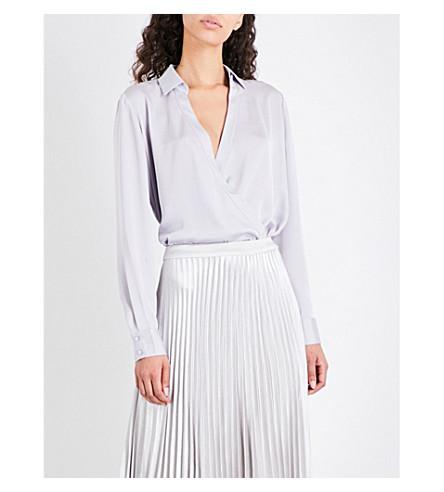 REISS Gabriella satin blouse (Chalky+slate
