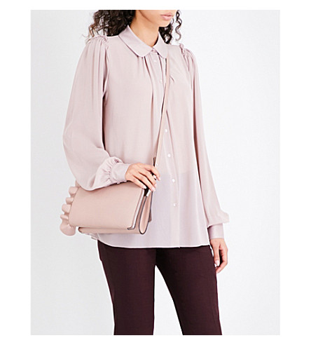 REISS Keely chiffon blouse (Ash+pink