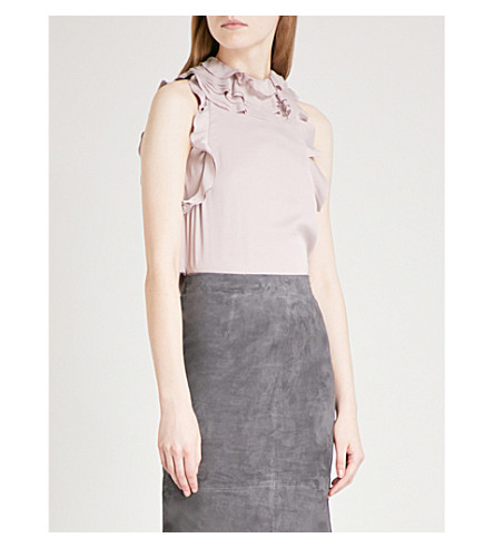 REISS Dallas ruffled satin top (Ash+pink