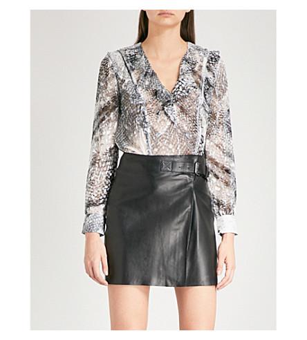 REISS Lita snake-print chiffon blouse (Multi