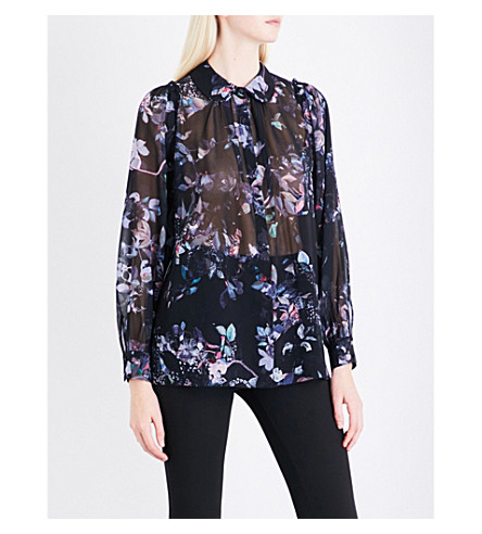 REISS Khali printed chiffon blouse (Multi