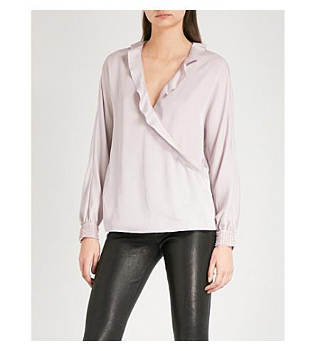 REISS Anaya beaded-detail satin blouse (Ash+pink