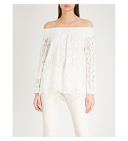 REISS Levy off-the-shoulder lace top (Off+white