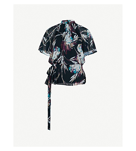 REISS Nella floral-print chiffon top (Multi