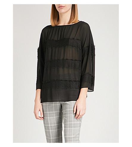 REISS Nellie lace-panelled chiffon blouse (Black