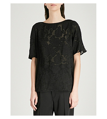 REISS Gabriella devoré top (Black