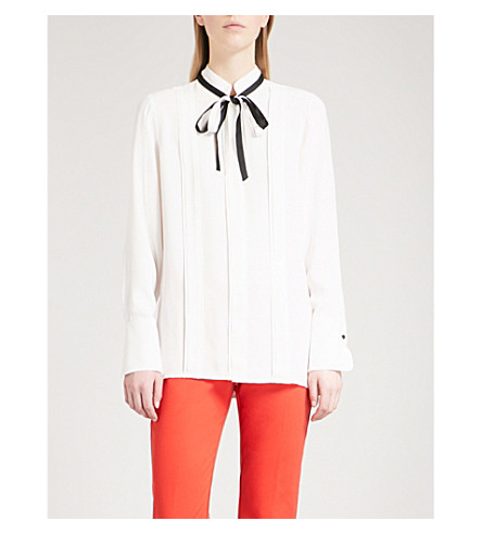 REISS Tala tie-neck woven blouse (Off+white