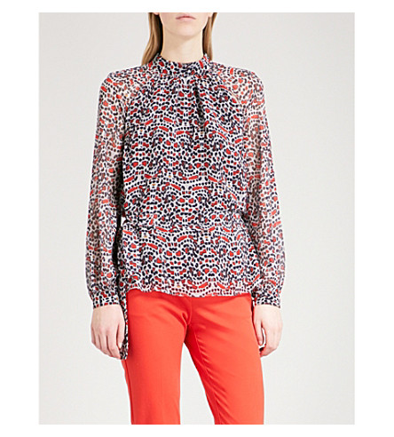 REISS Sabri chiffon blouse (Multi