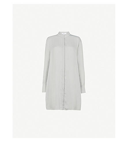 REISS Bianca embroidered-detail woven shirt (Soft+apple