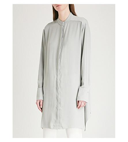 REISS Bianca embroidered-detail woven shirt (Soft+apple