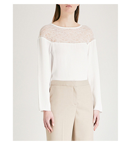 REISS Kiera lace-panel crepe blouse (Off+white