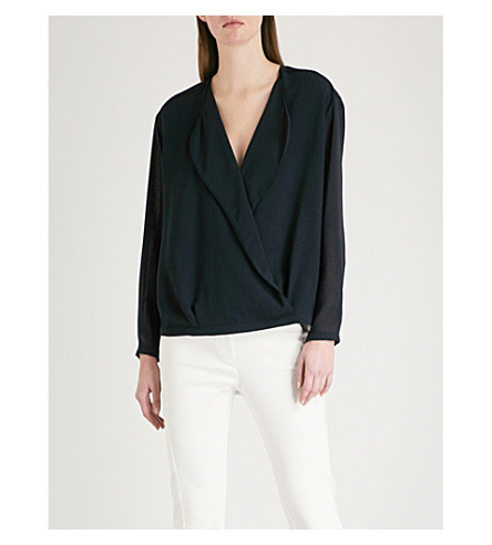REISS Eleanora wrap-front woven blouse (Night+navy