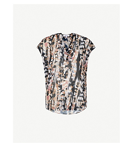 REISS Feather sleeveless crepe blouse (Multi