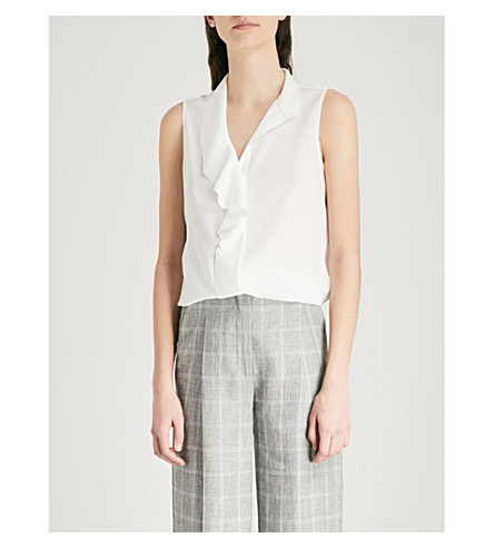 REISS Noa ruffled sleeveless top (Off+white