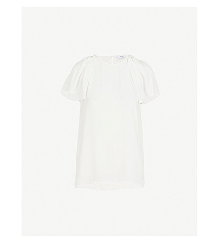 REISS Josie flared-sleeve twill top (Off+white