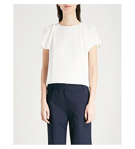 REISS Josie flared-sleeve twill top (Off+white