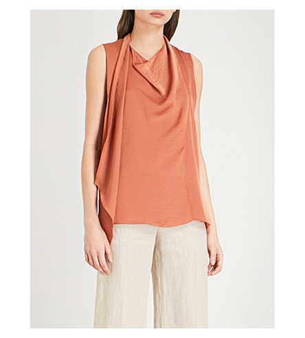 REISS Claire draped satin top (Bronzed+blush