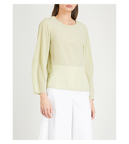 REISS Lee long-sleeved silk blouse (Aloe