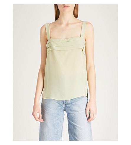 REISS Paisley pleated silk-crepe de chine top (Aloe