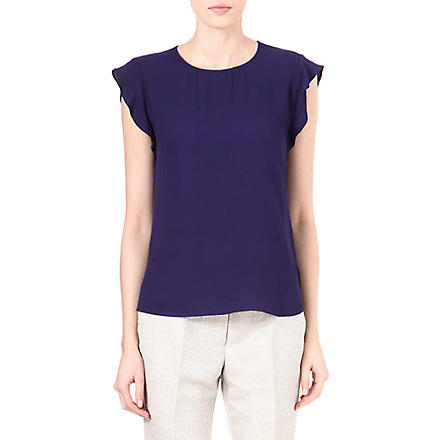 REISS Whitely frill-sleeved top (Indigo