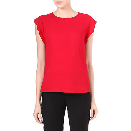 REISS Whitely frill-sleeved top (Red