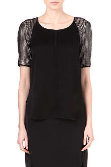 REISS Roxy mesh sleeve top