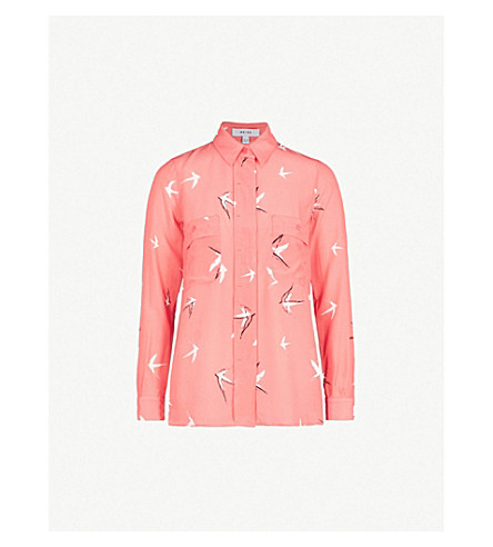 REISS Angra slik and crepe shirt (Watermelon