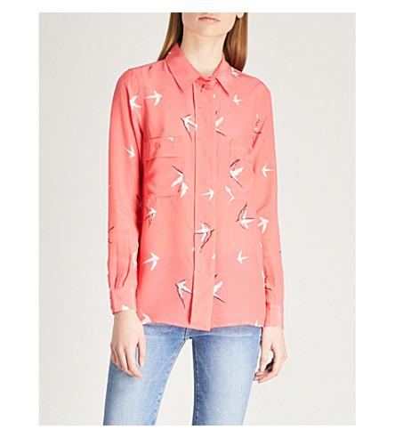 REISS Angra slik and crepe shirt (Watermelon