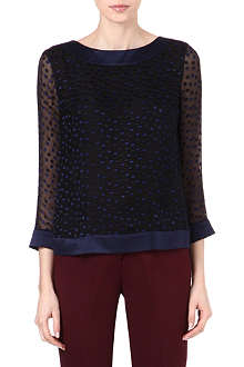 REISS Leah spotty sheer top