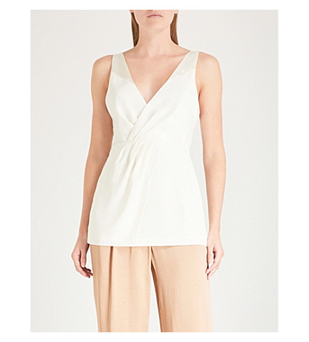 REISS June pleated-front satin-crepe top White Cheap Online Shop Sale Low Shipping Best Deals With Mastercard Extremely Online r19kJpTXFI