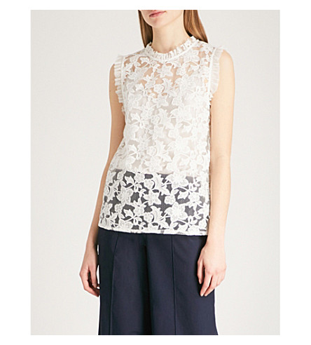REISS Marina ruffled embroidered floral-lace top (Off+white