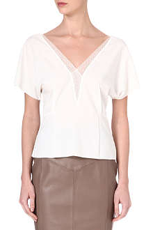 REISS Gina lace-trim top