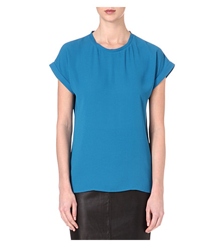 REISS Ellie crepe top (Blue