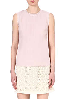 REISS Lace-trimmed crepe top
