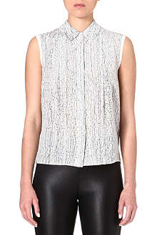 REISS Sleeveless printed silk shirt
