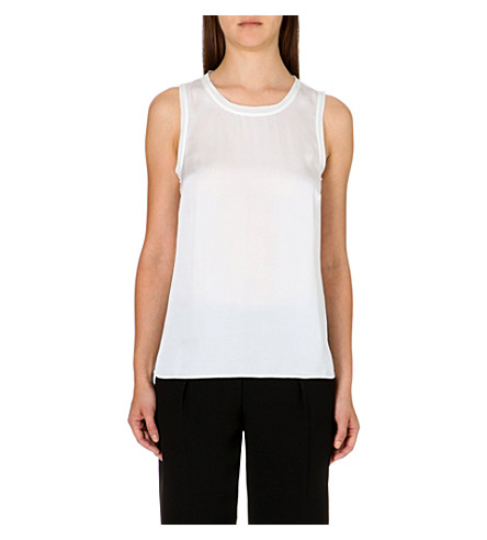 REISS Constance sleeveless silk top (Cream