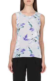 REISS Constance floral-print silk top
