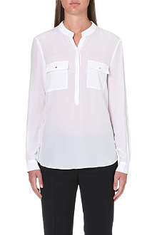 REISS Alexa semi-sheer silk blouse