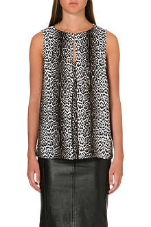 REISS Animal printed silk top