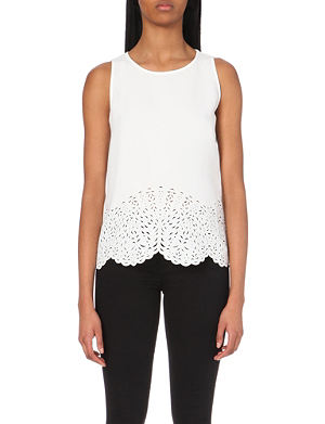REISS Marther laser-cut crepe top