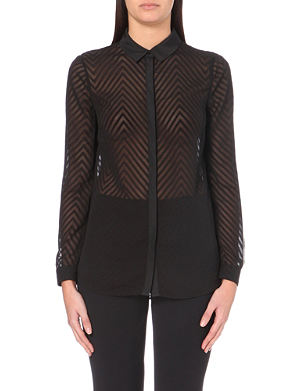 REISS Semi-sheer zigzag stripe shirt