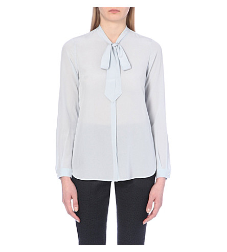 REISS Pussy-bow button-down silk blouse (Abyssal blue