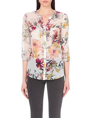 REISS Tiffany floral-print silk shirt