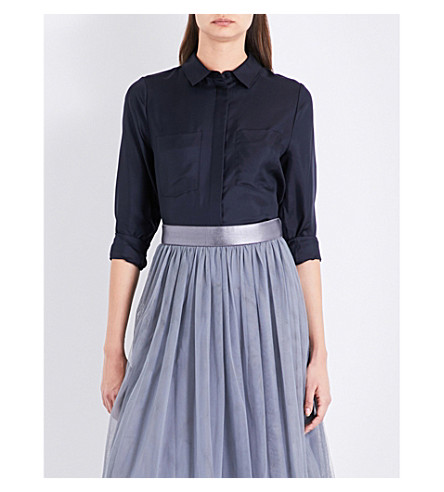 REISS Meera silk-satin shirt (Night+navy